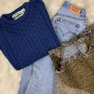 Vintage Aran Irish knit cable sweater in blueberry